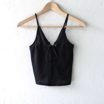 Lace Up Crop Top - Black
