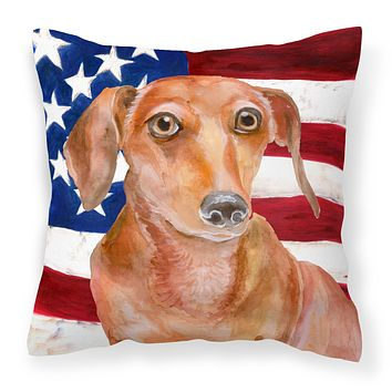 Red Dachshund Patriotic Fabric Decorative Pillow BB9707PW1818