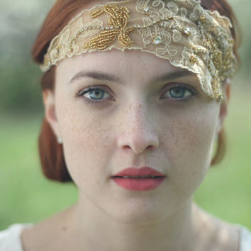 Gold Bridal Crown - OOAK - Vintage Lace Headband - Bridal Lace Headband - Lace Fascinator - Art Deco Wedding - Halo Headband