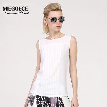MIEGOFCE 2016 summer New arrival chiffon tops round neck sleeveless Slim workwear high quality Vest Shirt Blouse Black White hot