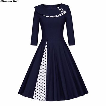 HimanJie Women autumn Polka Dot Vintage Dress Fashion Party Daily Sweetheart O Neck Waist Big Swing long sleeve Tunic Dresses