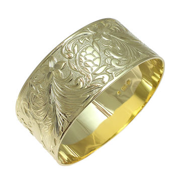 YELLOW GOLD SILVER 925 HAWAIIAN BANGLE PLUMERIA TURTLE DOLPHIN SCROLL 30MM