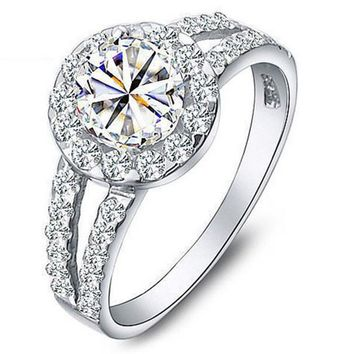 Silver with Zirconia Stone Engagement Ring