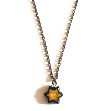 Little star necklace in gold color minimalist made entirely by hand in cold porcelain and painted by hand