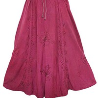 Mogul Interior Womens Gypsy Summer Skirt Long Skirts Pink Floral Embroidery S/M