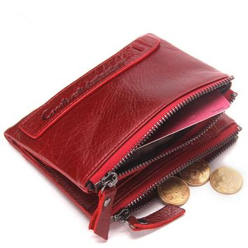 Genuine Leather Women Wallet Bifold Wallets ID Card Holder Coin Purse With High Quality Double Zipper Small Women's Purse Red
