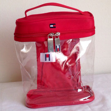 cute TOMMY HILFIGER BAG red clear