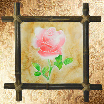 Rose Silk painting-Batik painting-Batik-Wall hanging-Drawing on Fabric-Canvas-Pink rose-Bamboo Frame-Flower Floral Painting-Wall Decor