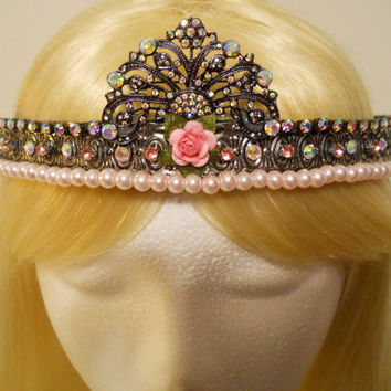 Pink Rose Crown, Tiara, for a Princess, Queen, Aurora Borealis, Galaxy, Gunmetal, Game of Thrones, Rhinestone, Birthday, Vintage, Reign, Kei