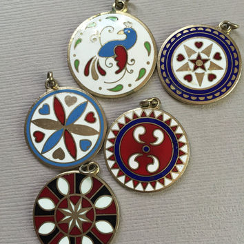 Hex Sign Pendant Lot Enamel Folk Art Charms Distlefink Bird German Dutch Luck