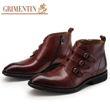 GRIMENTIN Brand 2017 new style mens ankle boots genuine leather pointed toe Italian fashion wedding men shoes