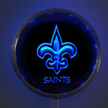 rs-b0050 New Orleans Saints LED Neon Round Signs 25cm/ 10 Inch - Bar Sign with RGB Multi-Color Remote Wireless Control Function