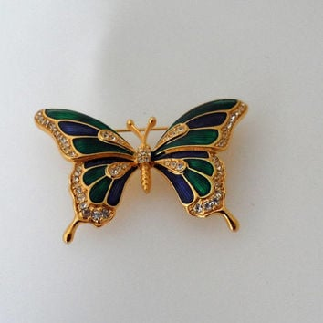 Vintage 1980s Swarovski Crystal Enamel New Never worn Green and Purple Butterfly Brooch/Swarovski Crystal Enamelled Brooch/New Never Used