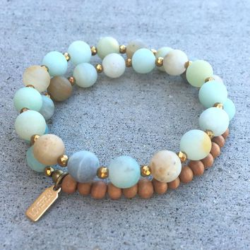 Matte Amazonite and Sandalwood, 'Communication and Healing', 27 Bead Wrist Mala Wrap Bracelet