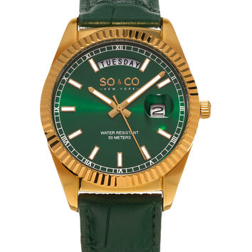 SO&CO Men's Madison Green Leather & Green Dial Watch, 38mm - Green