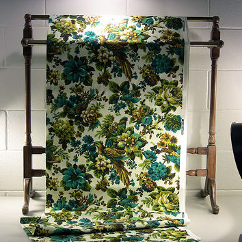 Vintage Sewing Fabric Floral Fowl Screen Print