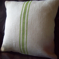 As Seen in Woman's World Magazine...Burlap Grain Sack Style Pillow Cover with Spring Green Stripes 18 x 18 - Decorative Pillow Cover