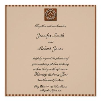 Celtic Knot in Cream and Rust Wedding Invitation from Zazzle.com