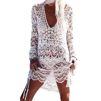 Lace  Hollow Bikini Beach Dress