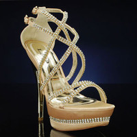 Gold Prom Shoe, LAVA ANDREA-5076 Shoes for Weddings & Proms