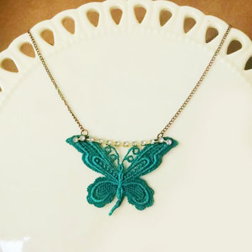 Butterfly Lace Necklace / Dark Cyan / Vintage Inspired / Rhinestone Copper Filigree