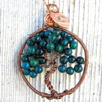 Copper Tree of Life Necklace with Green by DesignByAnyOtherName