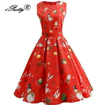 Vintage Autumn Winter Tunic Christmas Dress Women Retro Hepburn Style 2017 O Neck Sleeveless Swing rockabilly Party Dresses