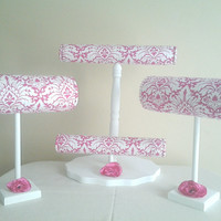 Boutique Headband and jewelry displays pink white damask Craft show displays set of 3 girls gift holder organizer child boutique display