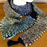 Long 86 Inch Blue Multi Tweed Scarf - Handmade Afghan Crochet Tweed - Adult Winter Personal Accessory - Soft and Warm