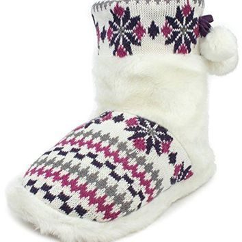 Enimay Womens Slipper Boots Lounge House Relaxed Shoes Winter Snow Flakes Hearts