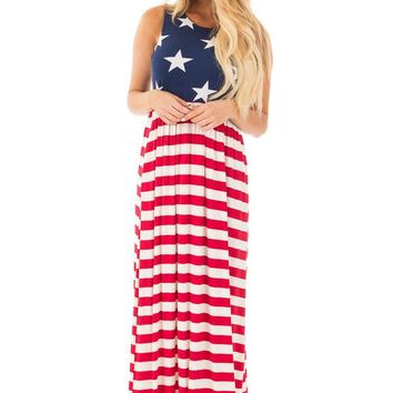 A| Chicloth Country Love American Flag Maxi Dress