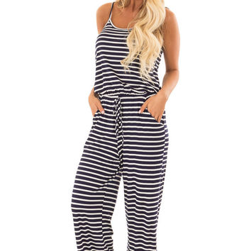 Navy Striped Spaghetti Strap Jumpsuit