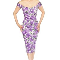 Bernie Dexter Scarlett Dress in White Lilac Print Stunning Retro Inspired