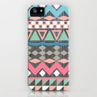 Vintage Wood Aztec, Andes Teal & Pink Abstract Pattern iPhone Case by Girly Trend | Society6