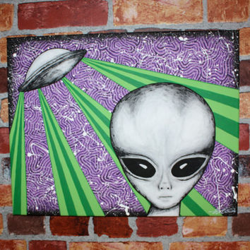 Original Hand Painted Acrylic on Canvas Alien Art Trippy Art Psychedelic Art Scifi Art Black and White Paint Splatter Graffiti Street Art