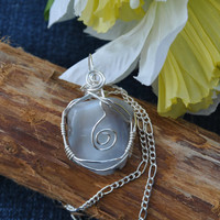 Wire wrapped agate; wire wrap stone; agate necklace; stone necklace; light gray stone; handmade necklace; agate pendant
