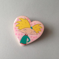 hey arnold 90's pinback pin brooch inspired by helga's locket
