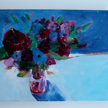 "Abstract Floral Still Life Painting Acrylic ""Roses in a Blue Room"""