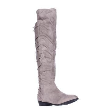 MG35 Cayln Over-the-Knee Strappy Boots, Grey, 7.5 US