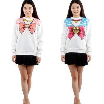 2016 Japanese Kawaii Clothes Anime Sailor Moon Women Hoodies Harajuku Sweatshirt Cute Hoodies Pink Blue BS05