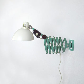 Industrial Scissor Wall Lamp. Black and Grey Accordion Wall Light. 60s