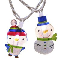 10ct. Clear Penguin/Snowman String Lights - White Wire