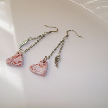HEARTS AND ANGEL Wing Personal Diffuser Earrings, Handmade Aroma Therapy Earrings, Silver Dangles with Angel Wings Terra Cotta Clay Hearts