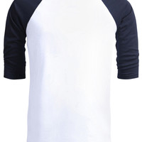 LE3NO Mens 3/4 Sleeve Raglan Crew Neck T shirt