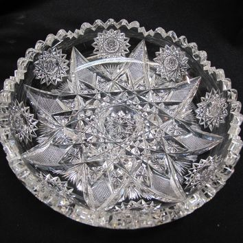 American Brilliant Period Cut Glass  low bowl Antique expanding