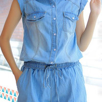 Blue Shirt Colar Drawstring Denim Romper