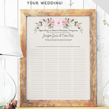 Rustic Quaker Marriage Certificate - Wedding Guest Book Alternative - Marriage Contract - Rustic Guest Book - Certificate of Marriage PAPER