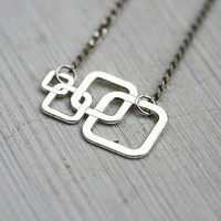 Square Necklace, Geometric Necklace, Minimalistic Jewelry, Layering Silver Necklace, Modern, Urban style, Sterling silver