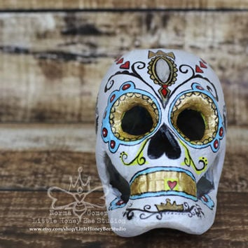 Poisoned Beauty - Dia De Los Muertos - Sugar Skull - Paper Mache Skull - Halloween Decor - Calavera - Mexican Folk Art - Hand Painted Skull