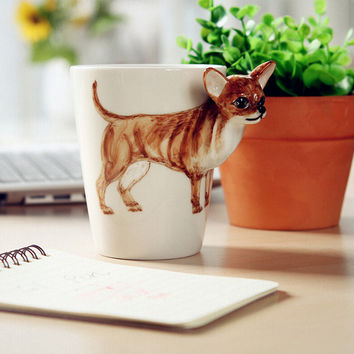 1 PCS Lovely 3D Hand-painted Animal  dog Cup Coffee Mug Tea Mug Ceramic Cup Decorative Gift